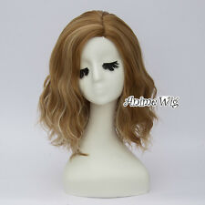 Lolita Harajuku Ombre Women Party Curly Blonde Mixed Brown Hair Cosplay Wig+Cap