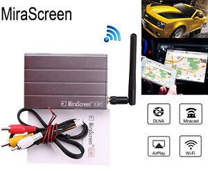 Car WiFi Display Mirror Link Adapter MiraScreen DLNA Airplay RCA AV Android iOS