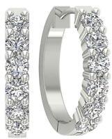 Hoops Earrings 0.90 Ct VS1 E Round Diamond 14K White Yellow Rose Gold Prong Set