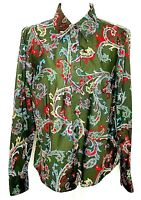 Tommy Hilfiger Stretch Size L Womens Colorful Paisley Green Long Sleeve Blouse