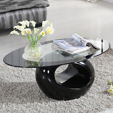 Glass Coffee Table Contemporary Living Room Home Furniture High Gloss Black Drop