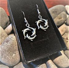 Handmade Dolphin Circle Silver Plate Earrings (Pair) Gift Boxed