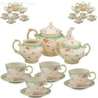 11 Piece China Tea Set Service Vintage Look Green Rose Porcelain Pot Saucers Cup
