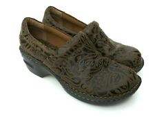 BOC Born Concept Peggy Women's Size 6.5 Brown Tooled Leather Clogs Slip On Shoes