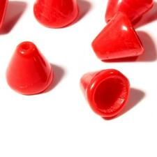 Lot (50) 6mm Czech vintage opaque fire red cone molded necklace cap glass beads