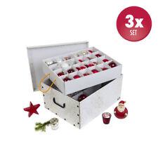3 x XL Deko Karton Weihnachtskarton Schachtel Aufbewahrungsbox Box Weiß Top