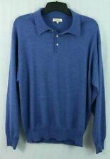 Peter Millar men's XL Wool Cashmere Silk LS Polo Pullover Luxe Blue Sweater