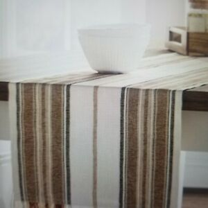 """Cotton Striped Table Runner  - Threshold 14""""x 108"""" NWT"""