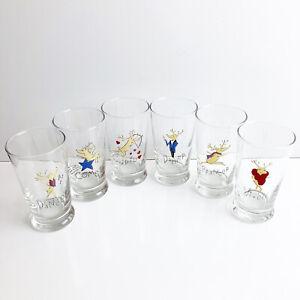 Pottery Barn Christmas Reindeer Glasses (Set Of 6) Retired 2003 Xmas