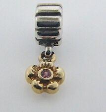 790372PSA PANDORA STERLING SILVER & 14 KARAT GOLD  SAPPHIRE DAISY BEAD-RETIRED