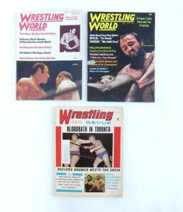 VINTAGE 1972 WRESTLING WORLD MAGAZINES LOT OF 3 ISSUES WWF