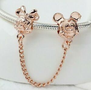 Rose Gold Mickey & Minnie Mouse Heads European Spacer Safety Chain Charm Bead!!