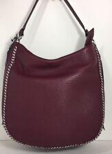 Rebecca Minkoff Unlined Ladies Medium Leather Hobo Handbag Acai/silver