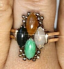 Estate Beautiful Multi Color Jade Solid 14K Yellow Gold Cocktail Band Ring