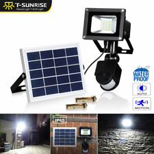 Solar Motion Sensor Flood Spot Light 10W Outdoor Waterproof LED Garden Yard Lamp