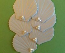 SIX SPECIAL EMBOSSED SCALLOP SHELLS WITH BLING!  CARDS, COLLAGES, SCRAPBOOKS.