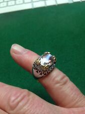 Gold White & Yellow KUNZITE & Diamond Ring Y/D 0.25 D 0.50 CTS Size L
