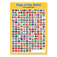 A3 Laminated Flags of the World Wall Chart