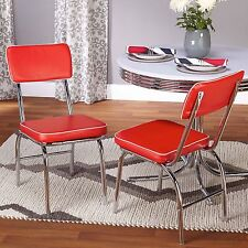 Retro Diner Chair Set 2 Kitchen Dining Room Red Classic Style Vinyl Seat Chrome