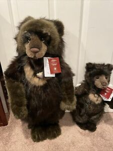 Charlie Bears  Limited Edition Big Ron Little Ron No. 643/1500 Rare Set