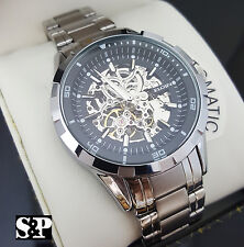 Mens Elgin Luxury Auto Chronograph Skeleton Stainless Steel Dress Watch FG8030S