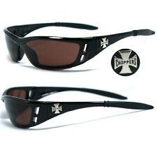 Choppers Bikers 100% UV400 Mens Sunglasses - Shiny Black Amber Lens C46