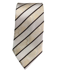 Men's light brown paisley with brown  and  silver  color  striped  woven  tie