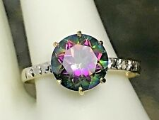 10K YELLOW GOLD  MYSTIC TOPAZ AND DIAMOND SOLITAIRE RING + RING BOX SIZE 6.75