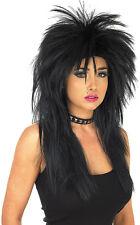 Adulto Negro Peluca Glam Rock Gótico Biker Accesorio Disfraz Elaborado Vestido
