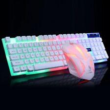 GTX300 Gaming Keyboard Mouse Set Rainbow LED Wired USB Ergonomic For PC Laptop