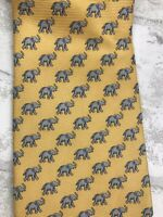 "Mens Tie Wildlife Domain Elephant Print 🐘 Yellow 100% Silk 58x4"""