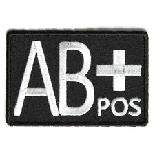 Embroidered AB+ Blood ID AB Positive Blood Group Iron on Patch Biker Patch