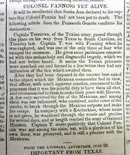 1836 newspaper w FAKE NEWS REPORT frm THE TEXAS REVOLUTION & the GOLIAD MASSACRE