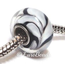 WHITE & BLACK_Single Core Murano Glass Bead for Silver Euro Charm Bracelet_B107