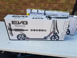 EVO 200s Commuter Black/Grey with Suspension Scooter 8yrs Adult- New Ex Display