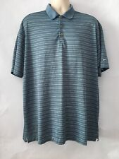 Nike Golf Polo Shirt Fit Dry Blue White Thin Strips Size 2Xl Short Sleeves
