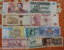 LOT OF 10 COUNTRY UNC BANK NOTES WITH CAMBODIA LATEST BUDHA NOTE # C10