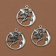 4pcs fairy in moon Tibetan Silver Bead charms Pendants DIY jewelry 30x25mm