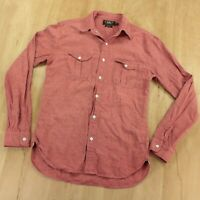 RRL ralph lauren linen cotton selvedge chambray shirt XS red extra small polo