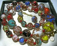 RAINBOW Venetian Murano Glass Gold Foil Bead Graduated Vintage Style NECKLACE