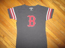 BOSTON RED SOX T SHIRT Baseball Sewn Logo Ringer Stripe Sleeve Women JUNIORS SM