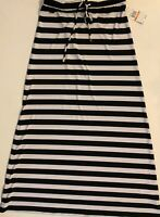 Michael Kors Black White Striped Maxi Long Skirt Pull On Stretch Size S NWT