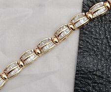 ESTATE 14K Yellow Gold Diamond Tennis Bracelet 3.36 CTW Baguette 7 Inch