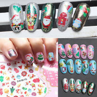 Christmas Nail Art Stickers Decals Water Transfers Reindeer Snowflake Snowman