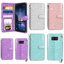 """For Samsung Galaxy S8 ACTIVE G892A 5.8"""" Bling Glitter Wallet STAND Cover Case"""