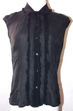 The Limited Silk Womens Black Button Down Small Top Ruffle Sheer Evening Party