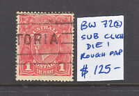 """KGV 1d RED  """"SUB CLICHE""""  DIE 1  ROUGH PAPER USED BW 72(2)"""