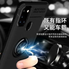 For Samsung Galaxy A21s, 3in1 Shockproof Soft Armor Ring Car Holder Case +glass