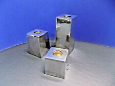 Set of 3 SILVER POTTERY BARN CANDLESTICKS CANDLE HOLDERS OBELISK PILLAR MODERN
