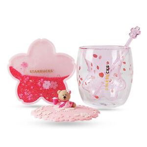 Starbucks Cat Paw Coffee Cup Glass Mug With Pink Sakura Coaster & Rod & Lid